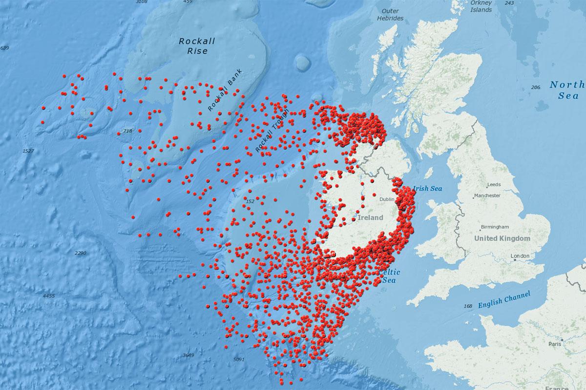 Uusi Kartta Esittelee 3 554 Hylkya Irlannin Merialueilla Suurin