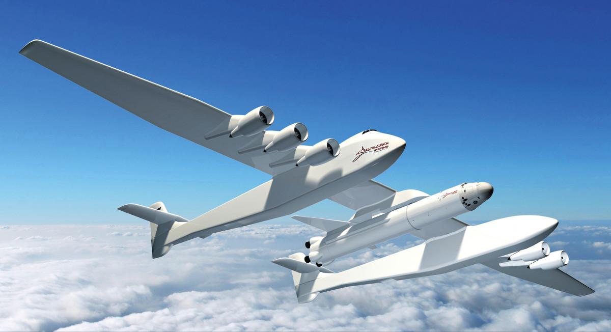 Stratolaunchin kuusimoottorinen jättiläislentokone on nimeltään Roc. Kantoraketti kulkee sen mahan alla. Todennäköisesti tällaiselle koneelle olisi käyttöä myös rahtikuljetuksissa Maan pinnalla paikasta toiseen.