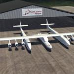 Tässä kyseessä on vielä piirros, mutta Stratolaunch on rakentanut jo kaksi kookasta hangaaria Mojaven lentoasemalle koneensa rakentamista ja myöhemmin sen operointia sekä satelliittien laukaisuvalmistelua varten.